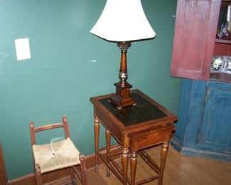 NESTING TABLES, ONE OF A PAIR OF LAMPS & ANTIQUE CHILD'S CHAIR
