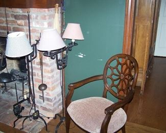 WROUGHT IRON LAMPS & ARMCHAIR