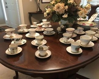 Large collection of vintage tea cups and saucers