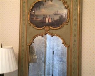 """Late 1800s painted European scene with antique mirror 32""""x 48""""     $5000"""