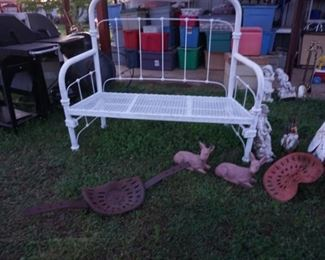 hand crafted bench,  yard decor