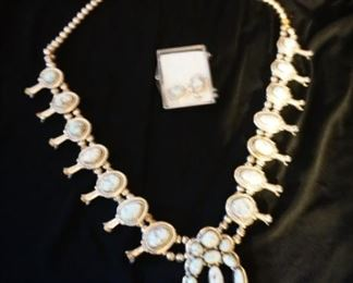 Sterling Squash blossom necklace and earrings