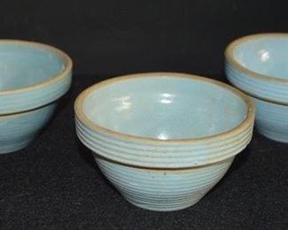 4080 - (3) Blue Stoneware Bowls