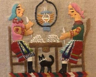 Set of seven European crewel work folk art textile art pieces.