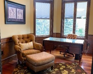 Ethan Allen desk, rug, arm chair and ottoman