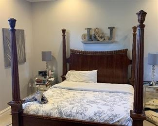 Elegant Bernhardt four post California king bed frame and high end California king mattress