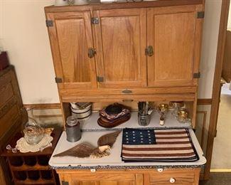 Hoosier cabinet, Stoneware, wine rack, vintage model horse