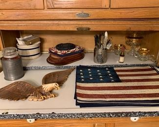 Silverware, eagle, placemats