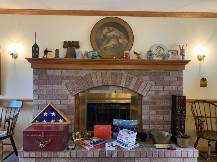 Books, William Tell bank, Commemorative flag and case, book ends