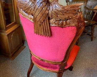 Hand carved eagle chair back