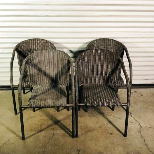 4 Brown Woven Pattern Rounded Back Outdoor Patio Chairs