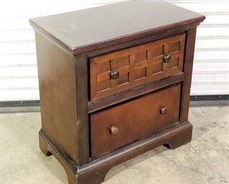 Craftsman Inspired Brown 2-Drawer Nightstand, Damaged Back On Bottom