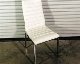 Contemporary White Upholstered Dining Chair With Metallic Legs