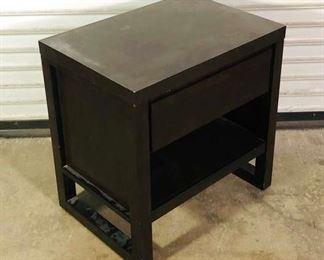 Contemporary Black 1-Drawer, 1 Shelf Nightstand
