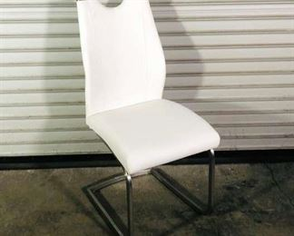 Modern White Upholstered Dining Chair With Metal Base