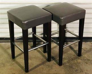 Pair Of Contemporary Dark Grey Upholstered Barstools