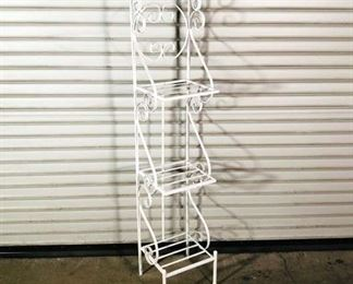 Vintage White Metal Rack Shelves/Plant Stand With Curly Details