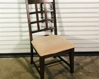 Traditional Brown Dining Chair With Tan Upholstered Seat