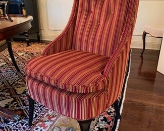 """85. Pair of Custom Red Striped Captains Chairs w/ Tufted Back (24"""" x 22"""" x 46"""")"""