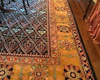 "90. ABC Carpet Black & Ocra Geometric Hand Knotted Rug (19'6"" x 12'6"")"