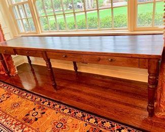 "89. Birch 4 Drawer Farm Table (113"" x 28"" x 29"")"
