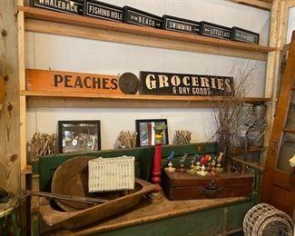 Antique dough bowl, signs, mirrors, original painted birds