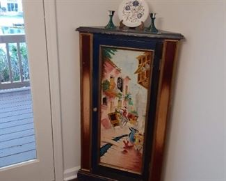Hand-painted corner shelf cabinet $95