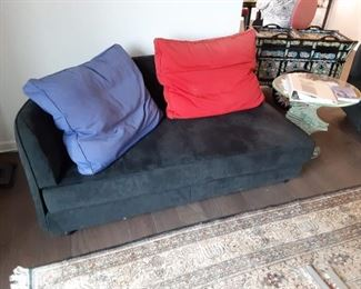 Black suede sofa