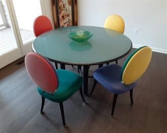 Multicolored dining table designer brand glass top $250