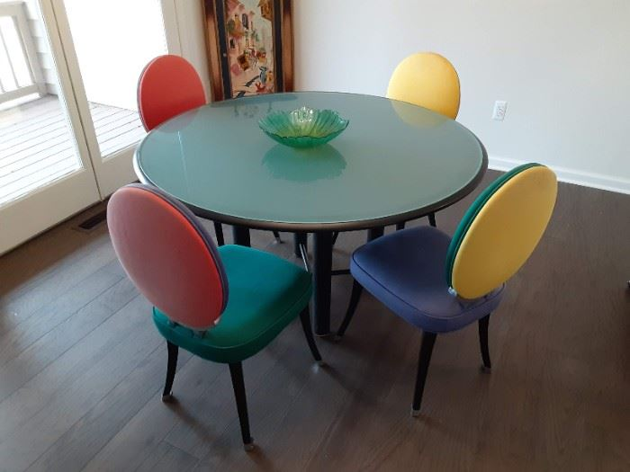 Multicolored dining table designer brand glass top $350