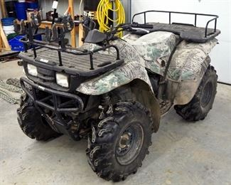 2000 Kawasaki Automatic Gas Powered ATV, Miles Showing 735.6, VIN JKAVF8A1XYB516824, New Tires