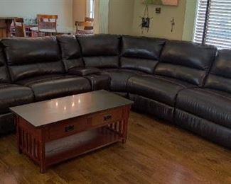 High Quality Dark Chocolate Leather Sectional with 4 Reclining Seats