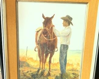 Boy with his Pony Oil on Canvas