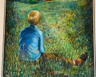 Boy in a Meadow Oil Painting