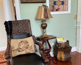 Large arm chair & lyre base table