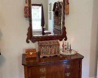 Three drawer chest & Sheridan mirror