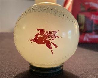 Mobilgas glass baseball bank