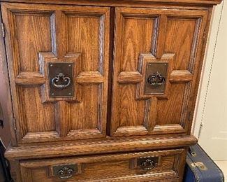 Armoire, vintage suitcase
