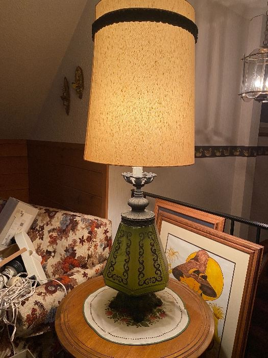 MCM vintage lamp with green glass base - WOW!