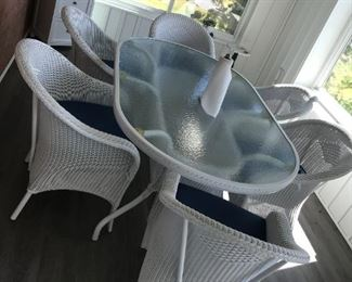 Wicker Glass Top Table / 6 Chairs $ 448.00 - excellent condition !