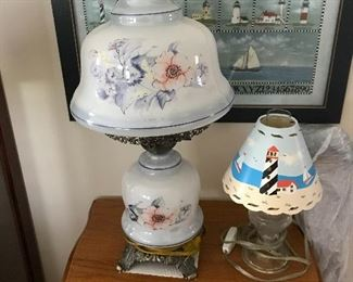 another view of the vintage parlor lamp and lighthouse lamp