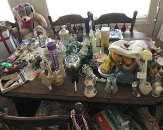 another view of collectibles on dining table