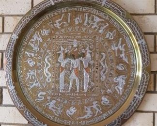 Egyptian themed brass wall serving dish 20 in