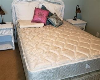 Queen White Rattan Headboard and Queen Mattress. Sold together or Separately.
