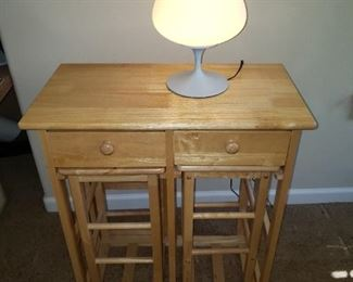 This is a sweet set...Table w/Fold down and two Stools.