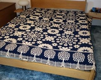 Danish Modern Queen Headboard with Side Tables - Nice.  Antique Wonderful Lindsey Woolsey Linen/Wool Summer/Winter Coverlet (USA) on Jacquard Loom.