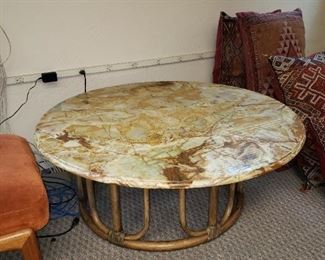 Bamboo Round Table with Marble Top