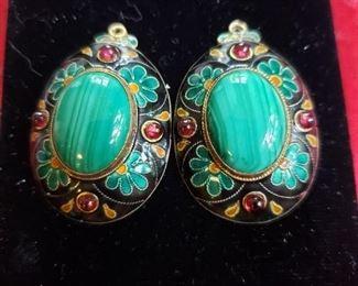 Sterling Silver/Enamel Earrings.