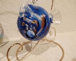 Adorable studio glass blowfish on a hanging stand