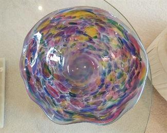 Large confetti colored wavy studio glass bowl